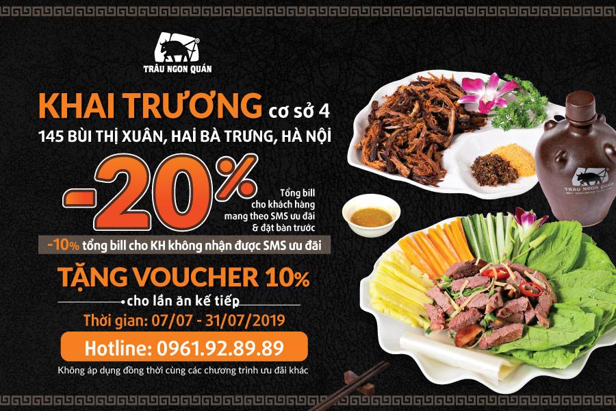 Khai trương nhà hàng Trâu Ngon Quán Bùi Thị Xuân - Ưu đãi lên đến 20%