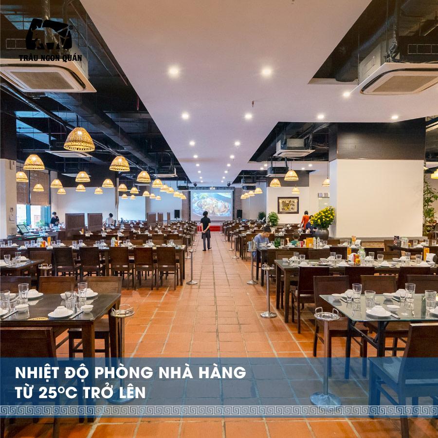 Nhiệt độ phòng nhà hàng từ 25 độ trở lên