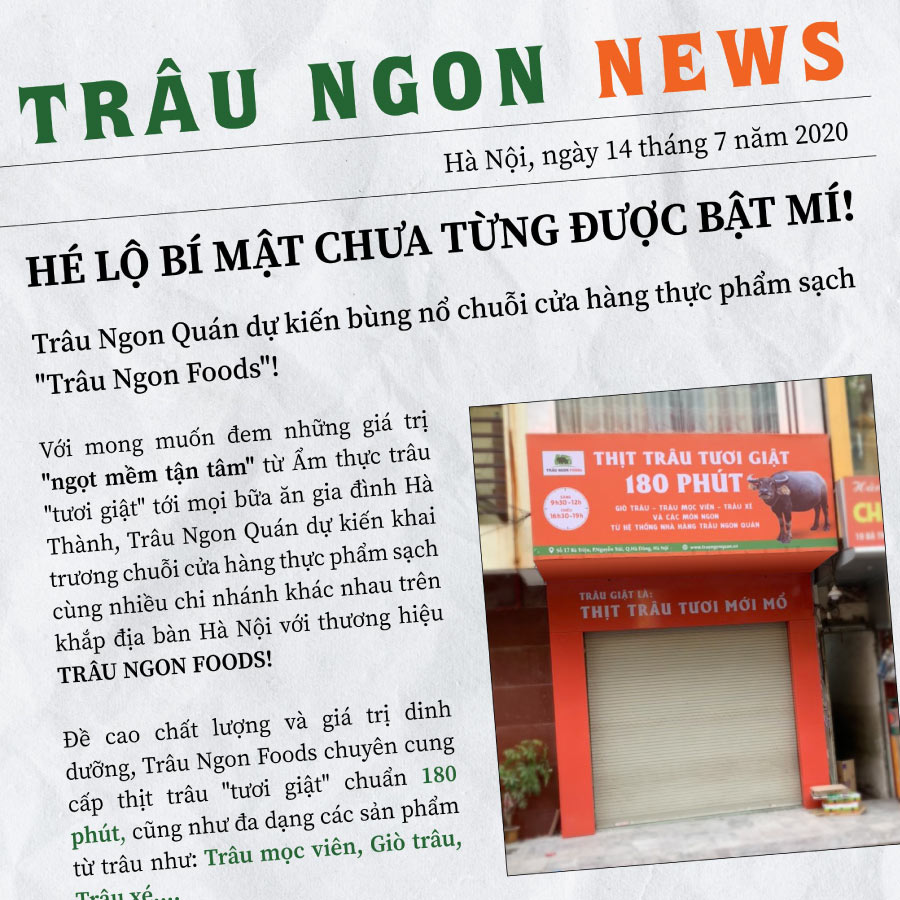 Ngay từ khi những tin tức đầu tiên được hé lộ, Trâu Ngon Foods đã nhận được sự quan tâm rất lớn...